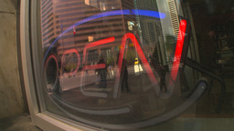 HD2009-5-7-10 open neon sign indow reflect Stock Video Footage