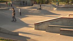 HD2009-5-10-10 skateboard park Stock Video Footage