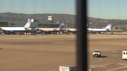 HD2009-11-1-1 Airport planes lined up trcking Footage
