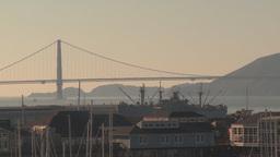 HD2009-11-2-4 GG bridge and liberty ship Stock Video Footage