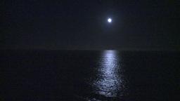 HD2009-11-2-28 night full moon at sea Stock Video Footage
