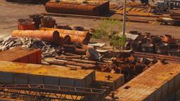 HD2009-11-3-6 rusting steel junkyard Stock Video Footage