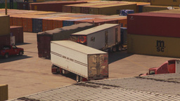HD2009-11-3-12 containor port and trucks Stock Video Footage