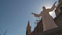 HD2009-11-3-16 church and statue Stock Video Footage