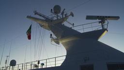 HD2009-11-3-28 ship mast evening Stock Video Footage