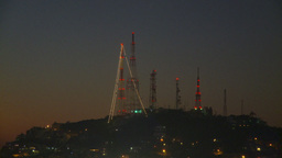 HD2009-11-4-13 Mazatlan TV towers at night Stock Video Footage