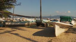 HD2009-11-7-4 fish skiffs on beach Stock Video Footage