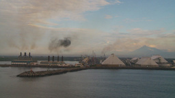 HD2009-11-8-3 industry, power gen smoke and harbour Stock Video Footage