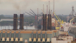 HD2009-11-8-5 industry, harbor ships and docks and power gen Stock Video Footage