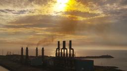 HD2009-11-8-17 industry, power gen stacks smoke Stock Video Footage