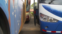 HD2009-11-11-20 idiling highway busses Stock Video Footage