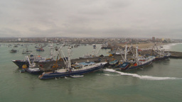HD2009-11-12-16 tuna fleet at dock Stock Video Footage
