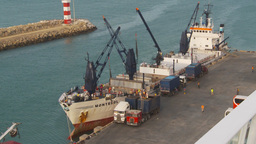 HD2009-11-14-6 cargo reefer ship at dock Stock Video Footage