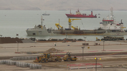 HD2009-11-14-32 cargo ship entering port Stock Video Footage