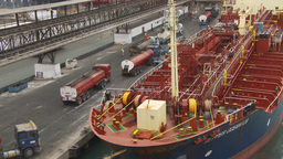 HD2009-11-15-1 cargo ship and trucks Stock Video Footage