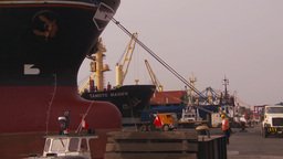 HD2009-11-16-38 cargo ships and trucks dock Stock Video Footage