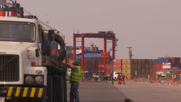 HD2009-11-16-40 sea containor port and trucks Stock Video Footage