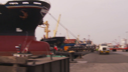HD2009-11-16-42 pan cargo ships to containors Stock Video Footage