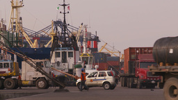 HD2009-11-16-44 cargo ships and trucks dock Footage