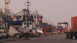 HD2009-11-16-44 cargo ships and trucks dock Stock Video Footage