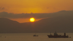 HD2009-11-17-9 sunset and ships Stock Video Footage