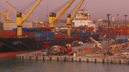 HD2009-11-17-11 sea containor port at sunset Stock Video Footage