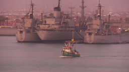 HD2009-11-17-15 fishing boat setting out at dusk Stock Video Footage