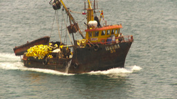 HD2009-11-18-5 fishing boat heading out to sea Stock Video Footage