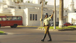 HD2009-11-18-59 Arica chilean police directs traffic Stock Video Footage
