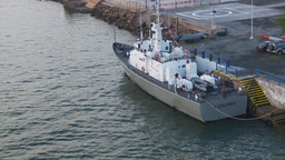 HD2009-11-19-9 Chilean navy patrolboat docked Stock Video Footage