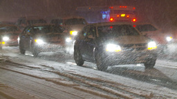 HD2009-11-24-11 snowstorm slow moving traffic Stock Video Footage