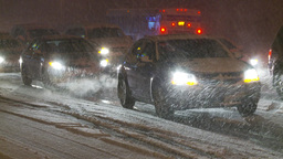 HD2009-11-24-11 snowstorm slow moving traffic Footage