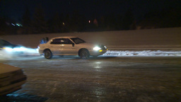 HD2009-11-24-17 snowstorm people pushing cars hopless spin Stock Video Footage