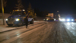HD2009-11-24-21 snowstorm tow truck jacknifed semi Stock Video Footage