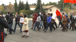 HD2009-10-5-5 peaceful protest march shame our streets Stock Video Footage