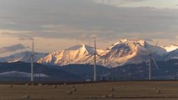 HD2009-10-6-10 wind turbines light on mtns Stock Video Footage