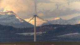HD2009-10-6-12 wind turbines light on mtns LL thermo Stock Video Footage
