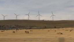 HD2009-10-7-1 drive along wind turbines Stock Video Footage