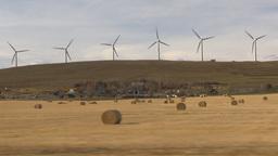 HD2009-10-7-1 drive along wind turbines Stock Video Footage