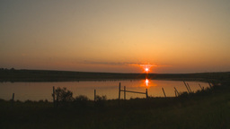 HD2009-9-1-3 sunrise over prairie pond Stock Video Footage