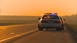 HD2009-9-1-9 early morning speeder pulled over cop Stock Video Footage