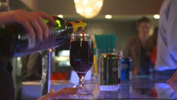 HD2009-9-2-4 bar, red wine in glass served Stock Video Footage