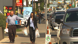 HD2009-9-31-4 people on sidewalk LL Stock Video Footage