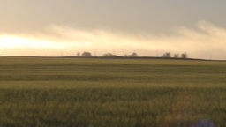 HD2009-9-31-12 pollution exhaust stack over field pan Stock Video Footage