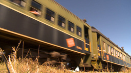HD2009-9-31-26 steam train passenger cars low angle Stock Video Footage