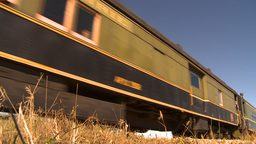 HD2009-9-31-26 steam train passenger cars low angle Footage