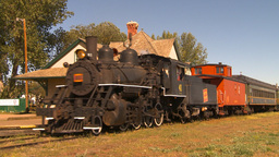 HD2009-9-32-4 steam trrain arrives Stock Video Footage