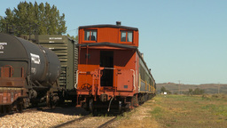 HD2009-9-32-6 caboose and pass cars Stock Video Footage