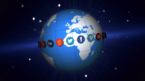 Social Network Logos | Rotating Earth | V2 stock footage