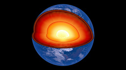 Rotating Earth revealing inner core structure Animation